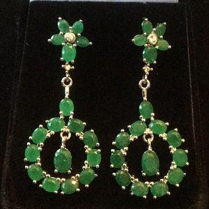 Elegant Genuine Emerald Earrings